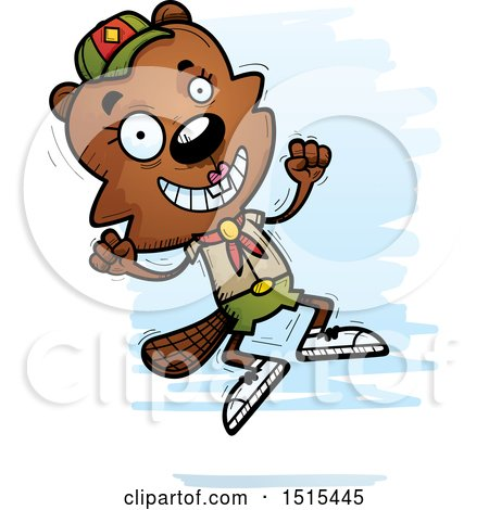 Clipart of a Jumping Female Beaver Scout - Royalty Free Vector Illustration by Cory Thoman