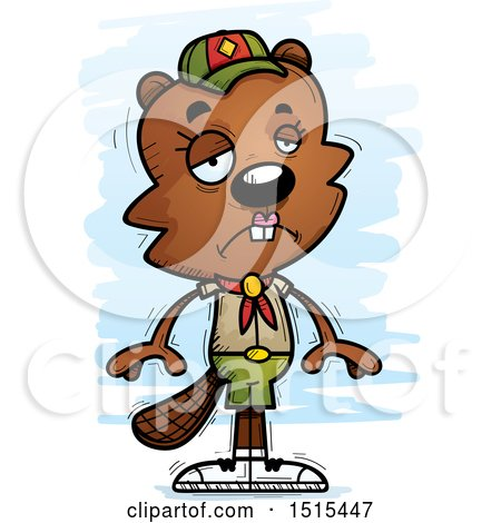 Clipart of a Sad Female Beaver Scout - Royalty Free Vector Illustration by Cory Thoman