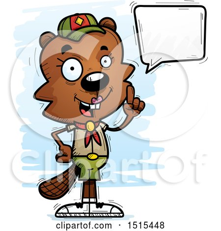 Clipart of a Talking Female Beaver Scout - Royalty Free Vector Illustration by Cory Thoman