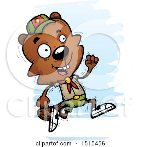 Clipart of a Running Male Beaver Scout - Royalty Free Vector Illustration by Cory Thoman
