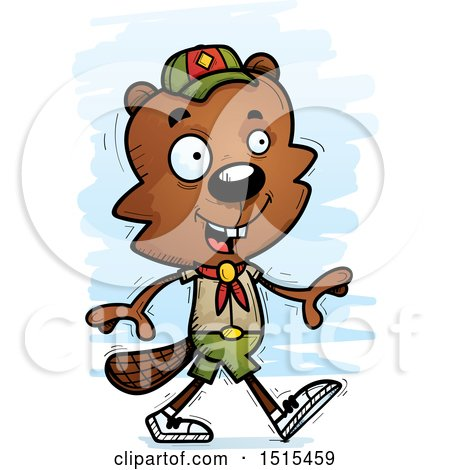Clipart of a Walking Male Beaver Scout - Royalty Free Vector Illustration by Cory Thoman