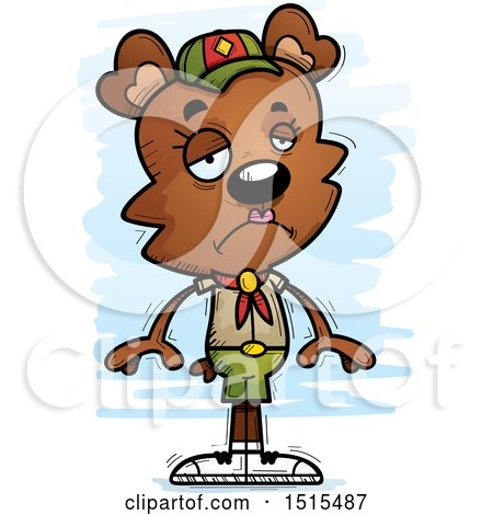 Clipart of a Sad Female Bear Scout - Royalty Free Vector Illustration by Cory Thoman