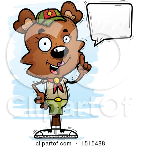 Clipart of a Talking Female Bear Scout - Royalty Free Vector Illustration by Cory Thoman