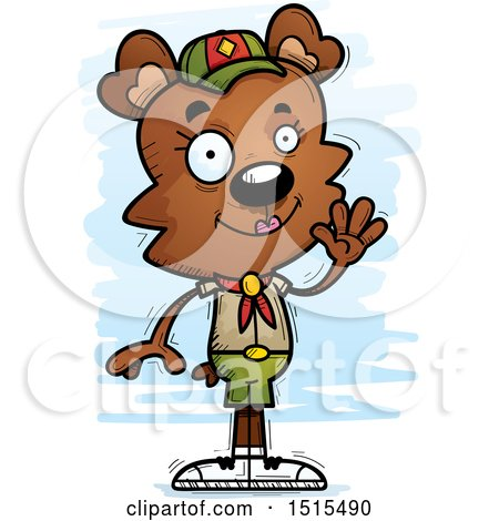 Clipart of a Waving Female Bear Scout - Royalty Free Vector Illustration by Cory Thoman