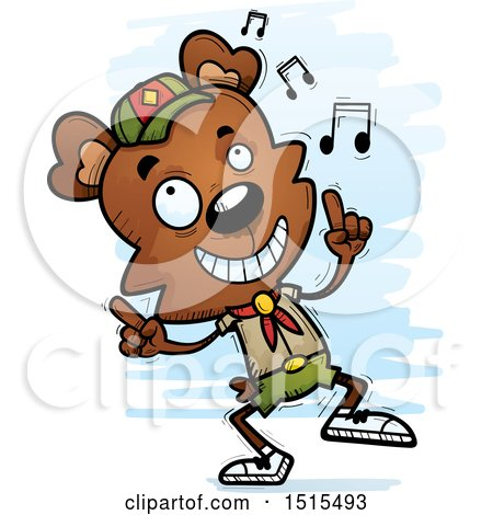 Clipart of a Happy Dancing Male Bear Scout - Royalty Free Vector Illustration by Cory Thoman