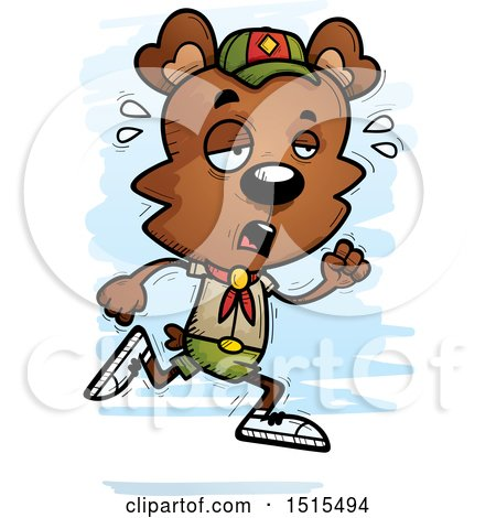 Clipart of a Tired Running Male Bear Scout - Royalty Free Vector Illustration by Cory Thoman