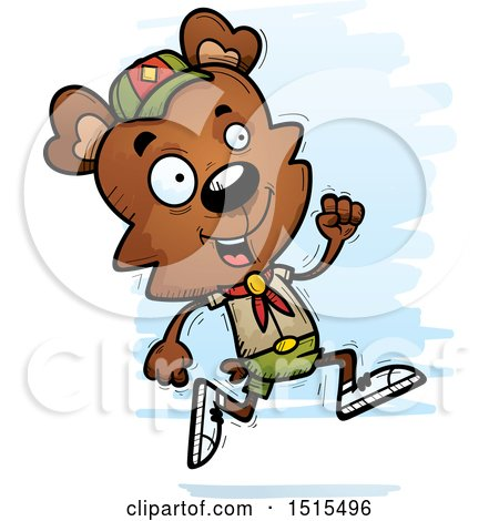 Clipart of a Running Male Bear Scout - Royalty Free Vector Illustration by Cory Thoman