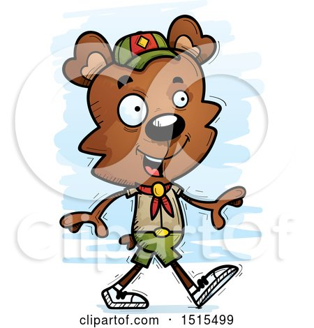 Clipart of a Walking Male Bear Scout - Royalty Free Vector Illustration by Cory Thoman
