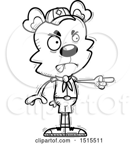 Clipart of a Black and White Mad Pointing Male Bear Scout - Royalty Free Vector Illustration by Cory Thoman