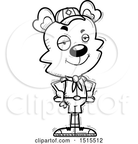 Clipart of a Black and White Confident Male Bear Scout - Royalty Free Vector Illustration by Cory Thoman