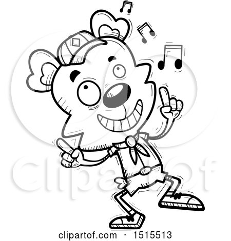 Clipart of a Black and White Happy Dancing Male Bear Scout - Royalty Free Vector Illustration by Cory Thoman