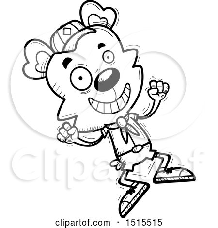 Clipart of a Black and White Jumping Male Bear Scout - Royalty Free Vector Illustration by Cory Thoman
