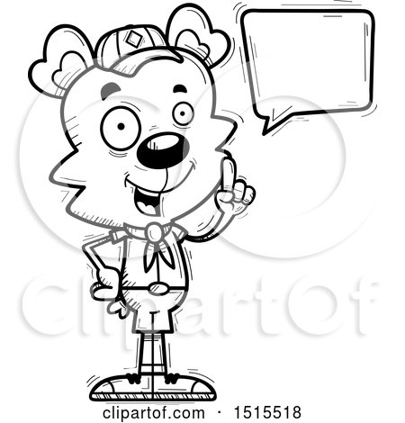 Clipart of a Black and White Talking Male Bear Scout - Royalty Free Vector Illustration by Cory Thoman