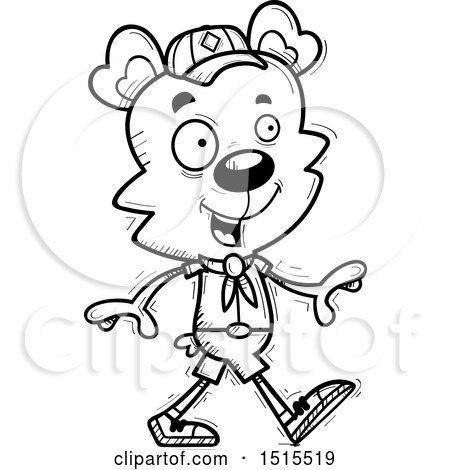 Clipart of a Black and White Walking Male Bear Scout - Royalty Free Vector Illustration by Cory Thoman