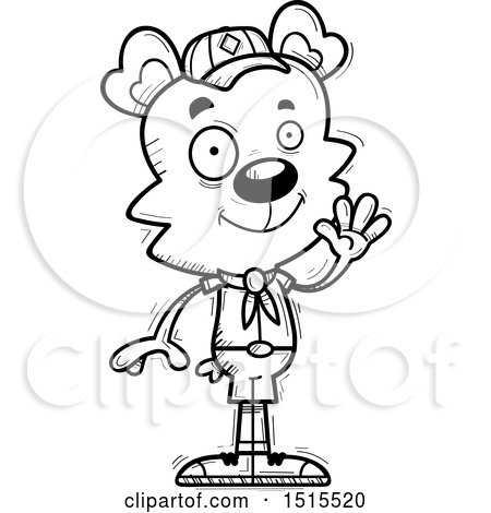 Clipart of a Black and White Waving Male Bear Scout - Royalty Free Vector Illustration by Cory Thoman
