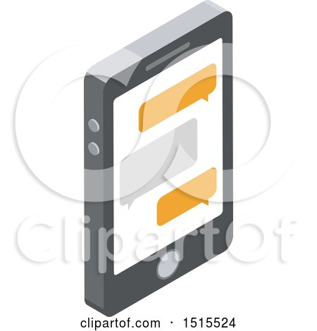 Clipart of a 3d Smart Phone and Text Messages Icon - Royalty Free Vector Illustration by beboy