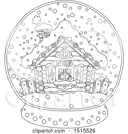 Clipart Of A Black And White Winter Cottage In Snow Globe