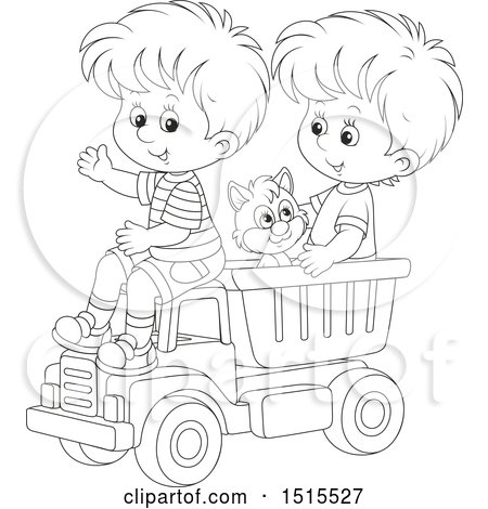 Clipart of a Black and White Cat and Boys Playing in a Toy Dump Truck - Royalty Free Vector Illustration by Alex Bannykh