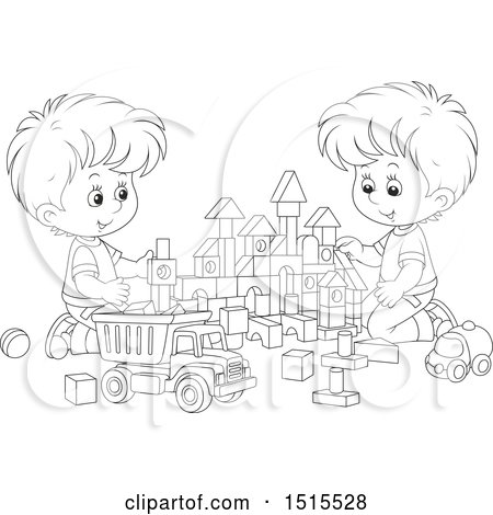 clipart of black and white boys playing with toy building blocks and a dump truck royalty free. Black Bedroom Furniture Sets. Home Design Ideas