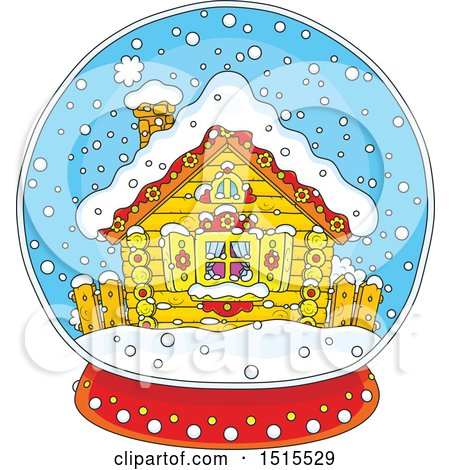 Clipart of a Winter Cottage in a Snow Globe - Royalty Free Vector Illustration by Alex Bannykh