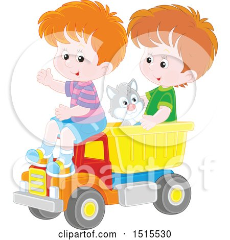 Clipart of a Cat and Caucasian Boys Playing in a Toy Dump Truck - Royalty Free Vector Illustration by Alex Bannykh