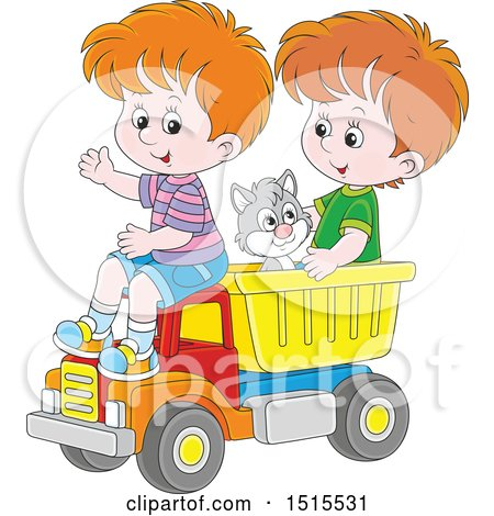 Clipart of a Cat and White Boys Playing in a Toy Dump Truck - Royalty Free Vector Illustration by Alex Bannykh