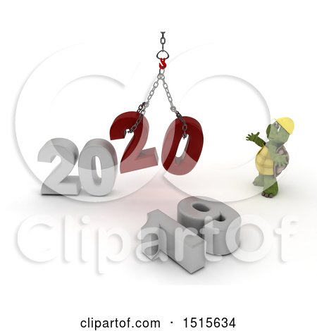 Clipart of a 3d New Year 2020 with a Tortoise Using a Hoist - Royalty Free Illustration by KJ Pargeter
