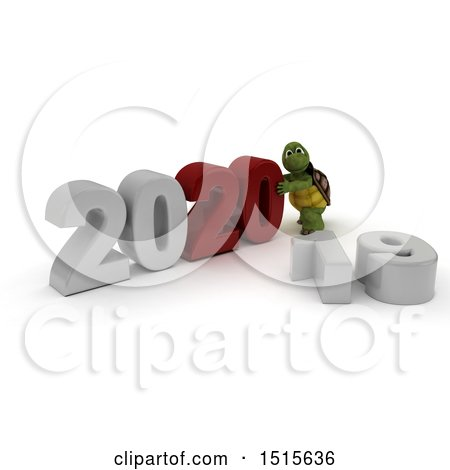 Clipart of a 3d New Year 2020 with a Tortoise - Royalty Free Illustration by KJ Pargeter
