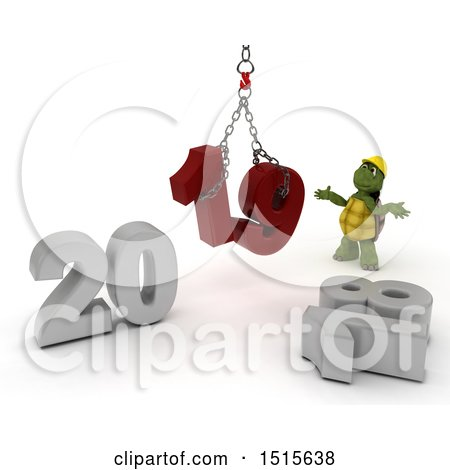 Clipart of a 3d New Year 2019 with a Tortoise Using a Hoist - Royalty Free Illustration by KJ Pargeter