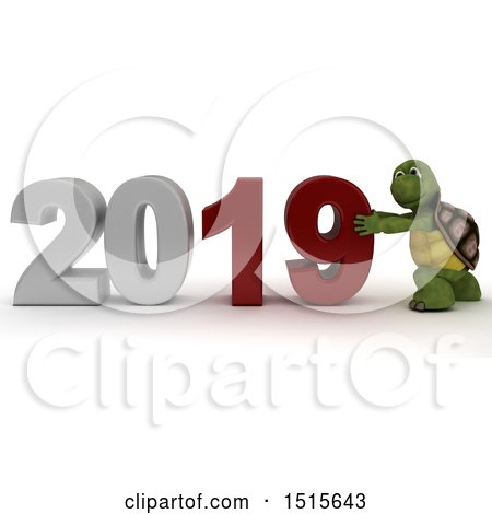 Clipart of a 3d New Year 2019 with a Tortoise - Royalty Free Illustration by KJ Pargeter