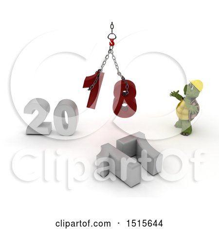 Clipart of a 3d New Year 2018 with a Tortoise Using a Hoist - Royalty Free Illustration by KJ Pargeter