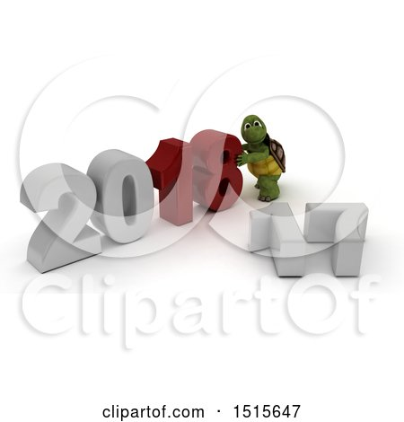 Clipart of a 3d New Year 2018 with a Tortoise - Royalty Free Illustration by KJ Pargeter