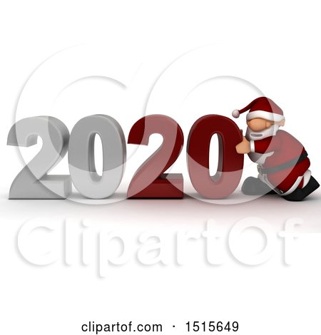 Clipart of a 3d New Year 2020 with Santa Claus - Royalty Free Illustration by KJ Pargeter