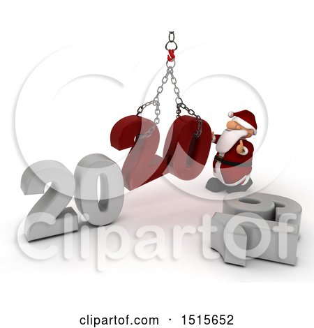 Clipart of a 3d New Year 2020 with Santa Claus Using a Hoist - Royalty Free Illustration by KJ Pargeter