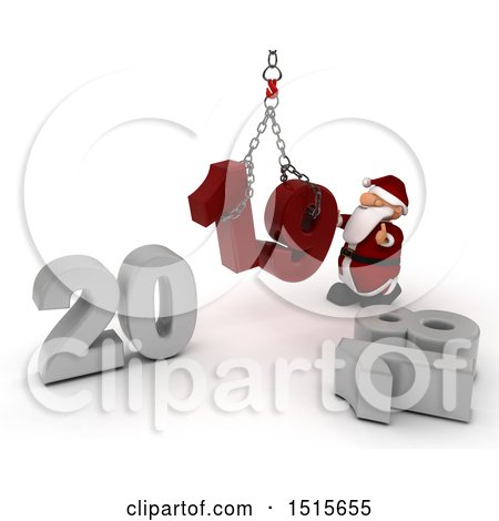 Clipart of a 3d New Year 2019 with Santa Claus Using a Hoist - Royalty Free Illustration by KJ Pargeter