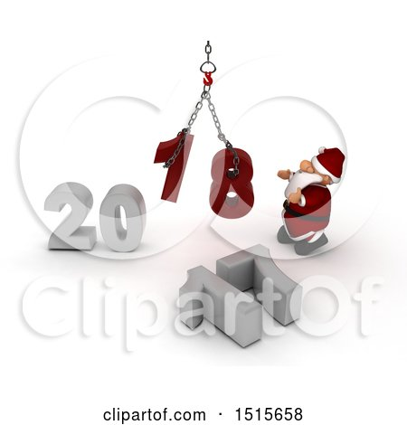 Clipart of a 3d New Year 2018 with Santa Claus Using a Hoist - Royalty Free Illustration by KJ Pargeter