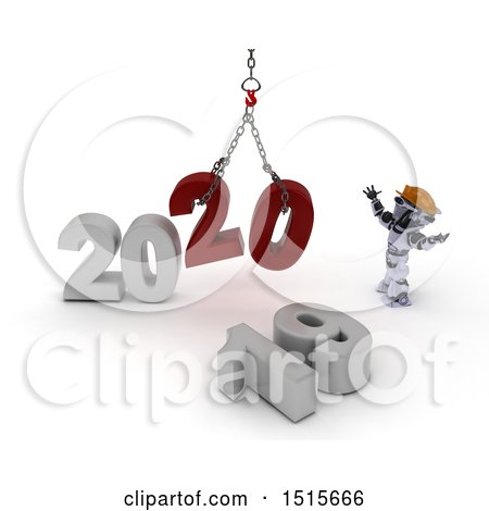 Clipart of a 3d New Year 2020 with a Robot Using a Hoist - Royalty Free Illustration by KJ Pargeter