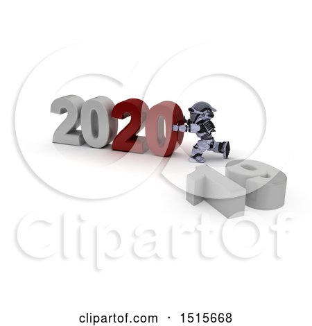 Clipart of a 3d New Year 2020 with a Robot - Royalty Free Illustration by KJ Pargeter