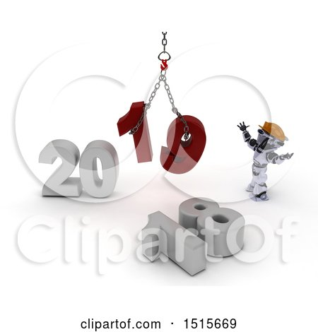 Clipart of a 3d New Year 2019 with a Robot Using a Hoist - Royalty Free Illustration by KJ Pargeter