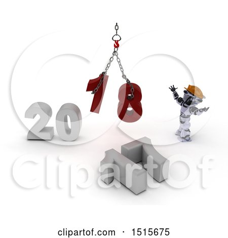 Clipart of a 3d New Year 2018 with a Robot Using a Hoist - Royalty Free Illustration by KJ Pargeter
