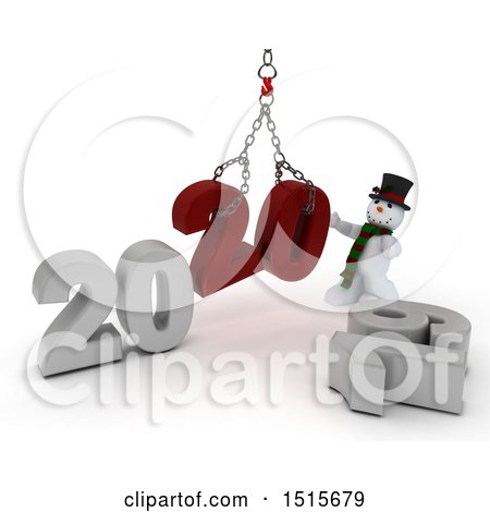 Clipart of a 3d New Year 2020 with a Snowman Using a Hoist - Royalty Free Illustration by KJ Pargeter