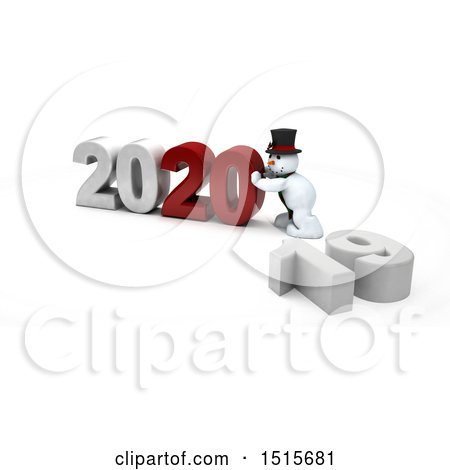 Clipart of a 3d New Year 2020 with a Snowman - Royalty Free Illustration by KJ Pargeter