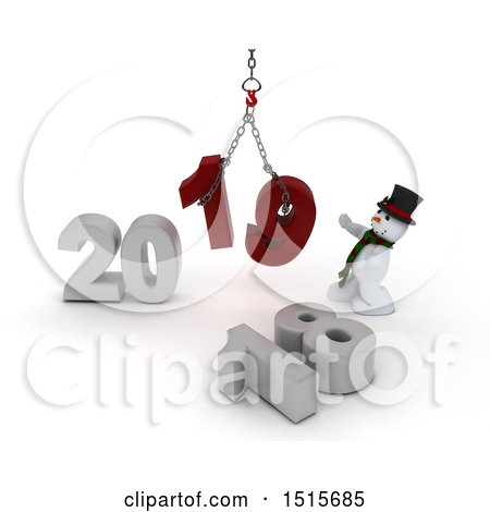 Clipart of a 3d New Year 2019 with a Snowman Using a Hoist - Royalty Free Illustration by KJ Pargeter