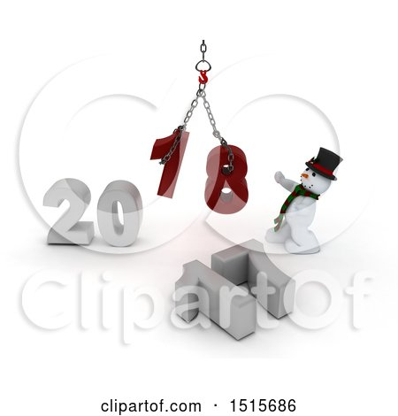 Clipart of a 3d New Year 2018 with a Snowman Using a Hoist - Royalty Free Illustration by KJ Pargeter