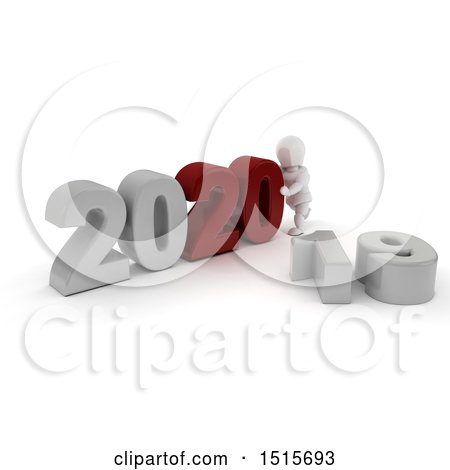 Clipart of a 3d New Year 2020 with a White Man - Royalty Free Illustration by KJ Pargeter