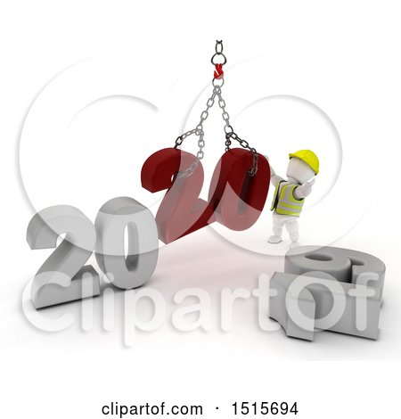 Clipart of a 3d New Year 2020 with a White Man Using a Hoist - Royalty Free Illustration by KJ Pargeter