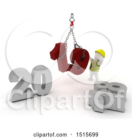 Clipart of a 3d New Year 2019 with a White Man Using a Hoist - Royalty Free Illustration by KJ Pargeter