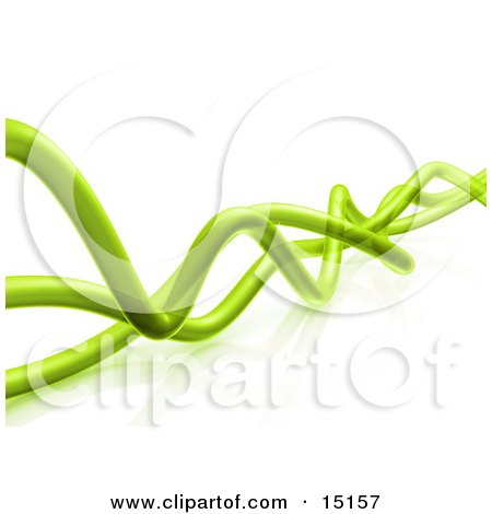 Wavy Green Transparent Pipes Twisting Over a White Background and Reflective Surface Posters, Art Prints