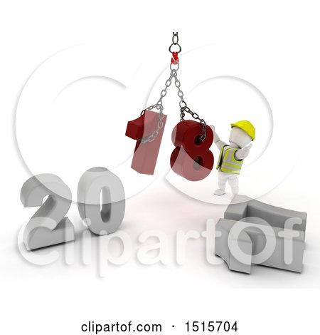 Clipart of a 3d New Year 2018 with a White Construction Worker Man Using a Hoist - Royalty Free Illustration by KJ Pargeter