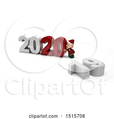 Clipart of a 3d New Year 2020 with an Elf - Royalty Free Illustration by KJ Pargeter